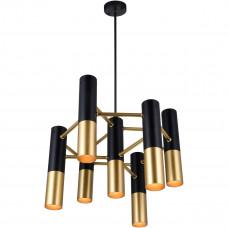 Anem 7 Light 17 inch Matte Black and Satin Gold Down Chandelier Ceiling Light
