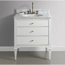 Charlottesville w/Brass 30″ Vanity – Polar White