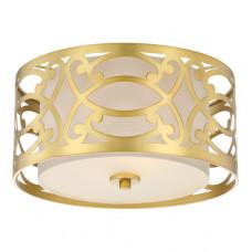 Filigree 2 Light 15 inch Natural Brass Flush Mount Ceiling Light