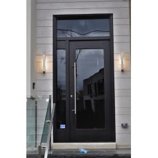 1 panel door with glass and transom