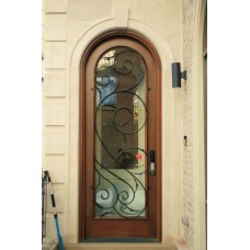 1 panel door with glass and a curved top