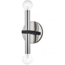 Colette 2 Light Polished Nickel / Black Wall Sconce Wall Light in Polished Nickel and Black