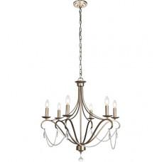 Baez 6 Light 26 inch Antiqued Silver Chandelier Ceiling Light