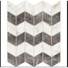 Imperial Michelangelo Bianco Carrara and Grigio Visone Zig-Zag Polished