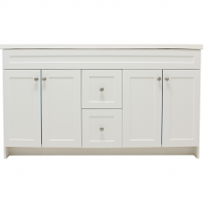 60 Inch Huntsville Shaker White Marble With Double Sink